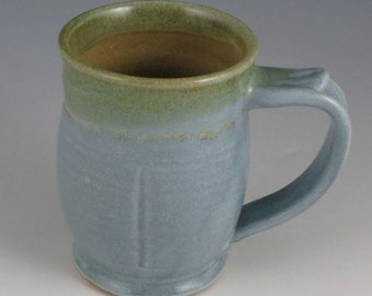 Coffee or Tea Mug in light blue satin matte and green,  12-13  oz.