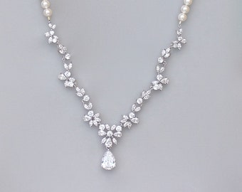 Crystal Bridal Necklace, Pearl Necklace, Pearl and Crystal Jewelry, Crystal Bridal Jewelry, ASHLEY