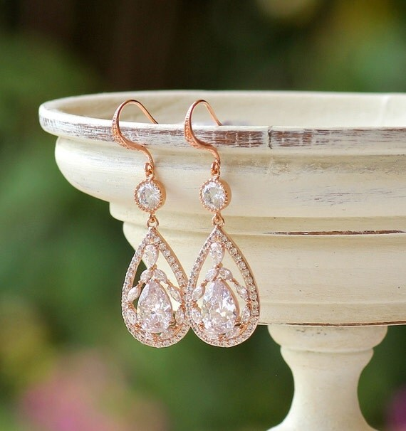 Rose Gold Chandelier Earrings Rose Gold Crystal Bridal
