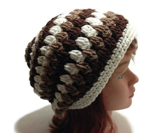 Granny Square Hat, Ombre Brown Hat, Open Stitch Hat, Ombre Beanie, Granny Square Tam, Ombre Slouchy Hat, Boho Fashion, Boho Hat, Ombre Brown
