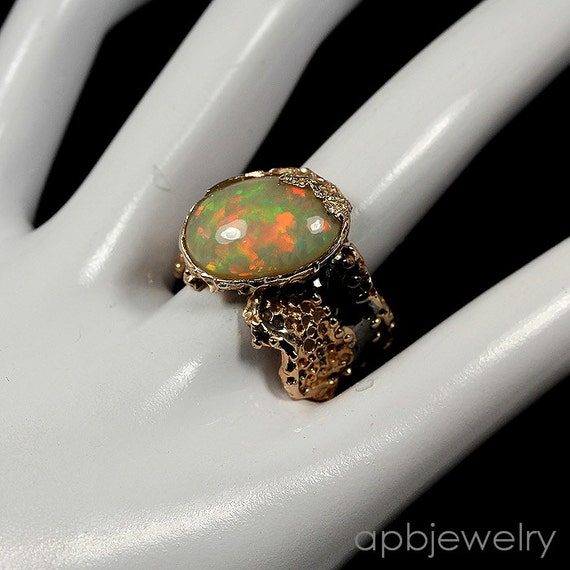 Natural 8ct AAA+ FULL FIRE Honeycomb Opal gemstone, 14kt Rose Gold, Black Rhodium Ring Size 10