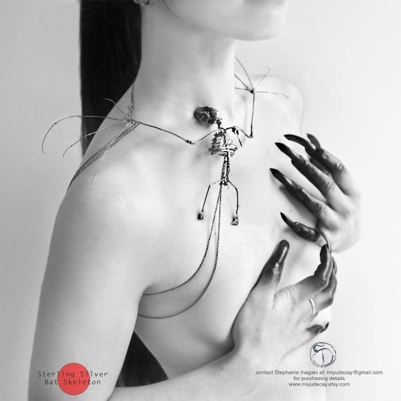 Miyu Decay Sterling Silver Bat Skeleton Necklace