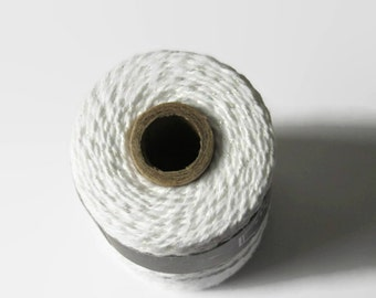 Icicle Divine Twine - Metallic Iridescent & Solid White Bakers Twine - Invitation Wrapping String - Craft - Packaging - 240 Yard Full Spool