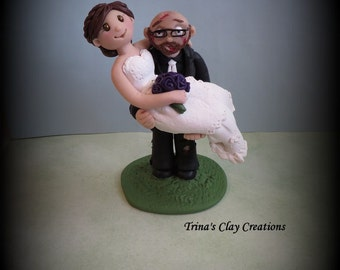 Wedding Cake Topper, Custom Cake Topper, Zombie Cake Topper, Bride and Groom, Polymer Clay, Personalized, Keepsake