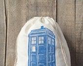 Handstamped Tardis Inspired 10 x 12 Project Bag - Dr Who Fans - Project Bag - Knitting Bag - Crochet Bag - Tardis - Handstamped - Drawstring