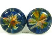 12mm Glass Cabochons Duo, Two Bird of Paradise, Small Boro Implosion Lampwork Frit Focal Bead