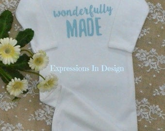 Baby gown,   Wonderfully made, baby,  gown,  newborn sleeper,  Coming home outfit, baby shirt, newborn outfit, hospital gift