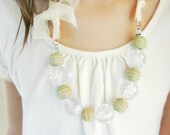 Beaded Necklace Ribbon Necklace Green Necklace. Girls Necklace. Wood Bead Necklace. Light Green Pastel Green Bow Necklace.