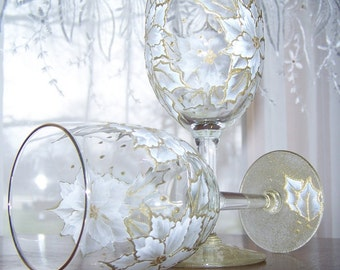 White Poinsettia holiday glasses Set of two