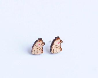 Wooden Bear Profile Stud Earrings