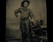 Superb Antique Cowboy Tintype Photo ~ Chaps & Pistol ~ By African American Photographer