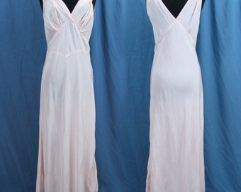 1940s  Pink Bias Cut Nightgown - 40s Lingerie - Silky gown - S-M