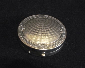 Vintage Karess Woodworth Compact Guilloche Silver 1916 Vanipat Powder Compact