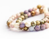 Pearlescent Faceted Round Spacer Beads, Multicolour Opaque Luster Mix, Fire Polished Czech Glass (6mm) x 25