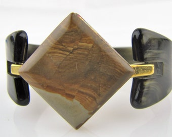 Art Deco Galalith Geometric Bracelet. Tortoise Shell Lucite Gold Brass Cuff Bangle. 1930s  French Bakelite Art Deco Early Plastic Jewelry