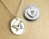 Personalized Dinosaur Necklace, Wax Seal Pterodactyl, Pteranodon, Heart Monogram, Initial, Fine Silver, Sterling Silver Chain, Made To Order