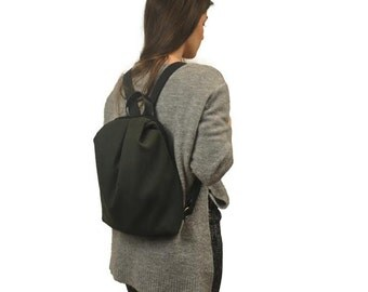 Handmade canvas backpack ,MILOS in dark green with black details