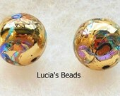A Beautiful Pair of Japanese Tensha Beads Arabesk on Gold 12 MM