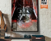 Star Wars fan art of Darth Vader, Large Canvas Wall Art, Geekery Art, Dorm Decor, Black, Red wall art, Canvas Art Print, Art for Kids