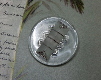 Large Vintage Glass Silver Luster Button