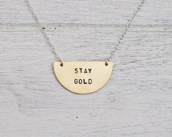 Stay Gold Brass or Sterling Silver Semi Circle Necklace - Can Be Personalised
