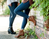 Monogrammed Booties - Brown and Black - Monogrammed Boots - Personalized Boots