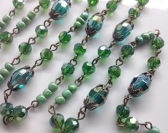 36 Inches AB Emerald Faceted Tube Beads, Antique Gold Beads, AB 6 mm, 8 mm Green Glass Bead Chain. Brass or Gold  Loop, DIY Craft Supply