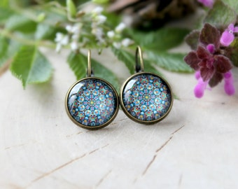 Colorful Abstract Ornament Earring, Antique Bronze, Glass Cabochon