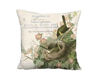 Pillow Cover - Pillow - Roses and Birds Nest French Farmhouse Sweet Briar Rose Cushion Cover - 16x 18x 20x 22x 24x 26x 28x 30x Inch Pillow