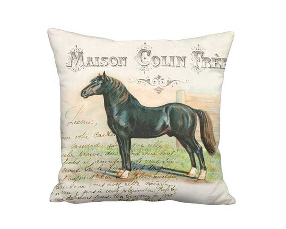 Schleswig Horse Pillow Cover - French Country Farmhouse Horse Pillow - 16x 18x 20x 22x 24x 26x 28x Inch Linen Cotton Cushion Cover