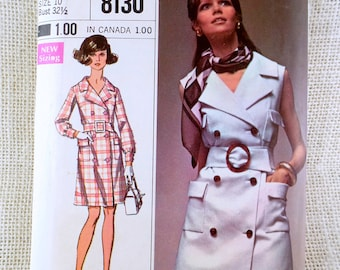 Vintage pattern Simplicity 8130 1960s Double breasted Coat dress sleeveless A LIne Bust 32.5 belted Sewing Mod Groovy 1960s