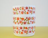 Arcopal Scania Bowls, Set of Three Vintage French Milkglass Bowls, Retro Floral Pattern Ice Cream Bowls, Orange and Pink Flower Pattern