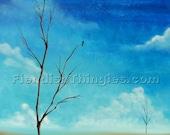 "Grateful 8"" x 10"" print of an original acrylic painting by Owen Klaas tree blue sky"