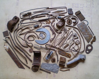 68 Rusty Metal Pieces - Found Objects for Assemblage, Jewelry or Altered Art - Salvaged Supplies