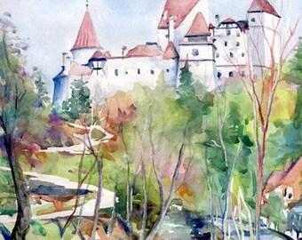 Bran Castle - Romania, A4 Fine Art Landscape Painting Print