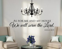 As For Me And My House - Wall Decals Quotes - Christian Wall Art - Scripture