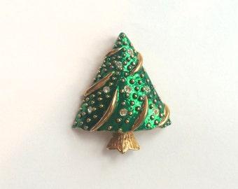 Vintage Gold Tone Enamel and Rhinestone Christmas Tree Pin, Brooch, Pendant