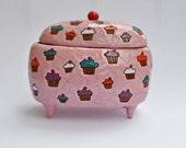 Cute jewellery box in cupcakes pattern