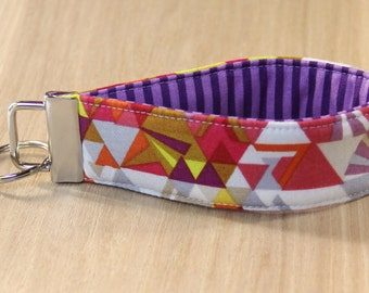 Key Fob Wristlet - Geometric Purple - Ready to Ship