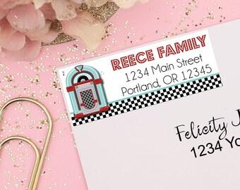 Sock Hop Address Labels, 50s Diner Address Labels, Kids Address Labels, Printable Address Labels, Kids Mailing Labels, Sock Hop Party