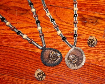 Pyrite ammonite fossil hemp necklace set, macrame, hippie, Fibonacci, his and hers, best friends, couples set, sisters, brothers