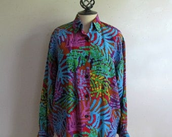 Vintage 1990s Rodier Blouse Silk Multi-Color Abstract Womens Plus Size Blouse XXL