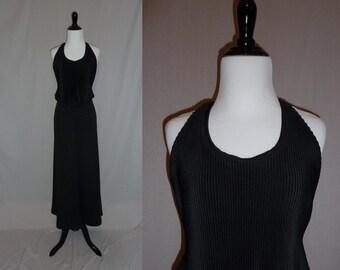 70s Black Halter Dress - Accordion Pleat Bodice Drape - Long Maxi Dress - Vintage 1970s - S