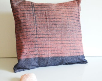 Pink Shadow Denim Pillow Cover, Hand Dyed Pink Blue Pillow, Dorm Decor, 14x14 Pillow Cover, Striped Pillow