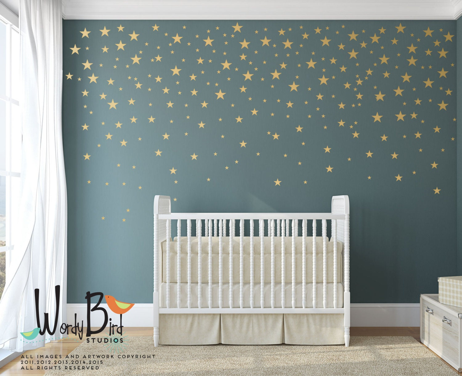 Gold stars wall decals pack peel and stick confetti wall - Stars for walls decorating ...