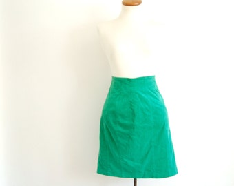 green mini skirt - 80s vintage bright neon kelly genuine suede leather japanese soft short tight high waisted mod panel pencil skirt xs
