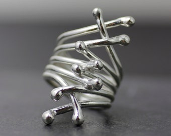 Sterling silver statement ring - women's ring - modern sterling silver sculptural art ring - silver cocktail ring - women's silver ring