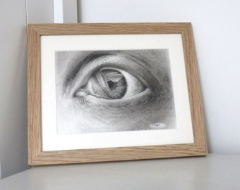 Mermaid eye drawing, original charcoal drawing, fantasy art, black and white art, pencil drawing, eye sketch, mermaid art, mermaid drawing