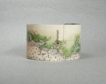 Cuff Bracelet Annapolis Maryland Chesapeake Bay Vintage Nautical Map Gift for Men or Women
