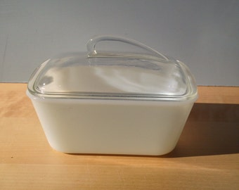 Glassbake Covered Casseroles, Streamline Design Milk Glass Lidded Dish, Made in the USA Glass Serving Dish